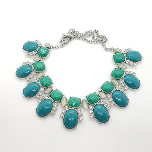 Lia Sophia * Blue Green Turquoise Silver Necklace